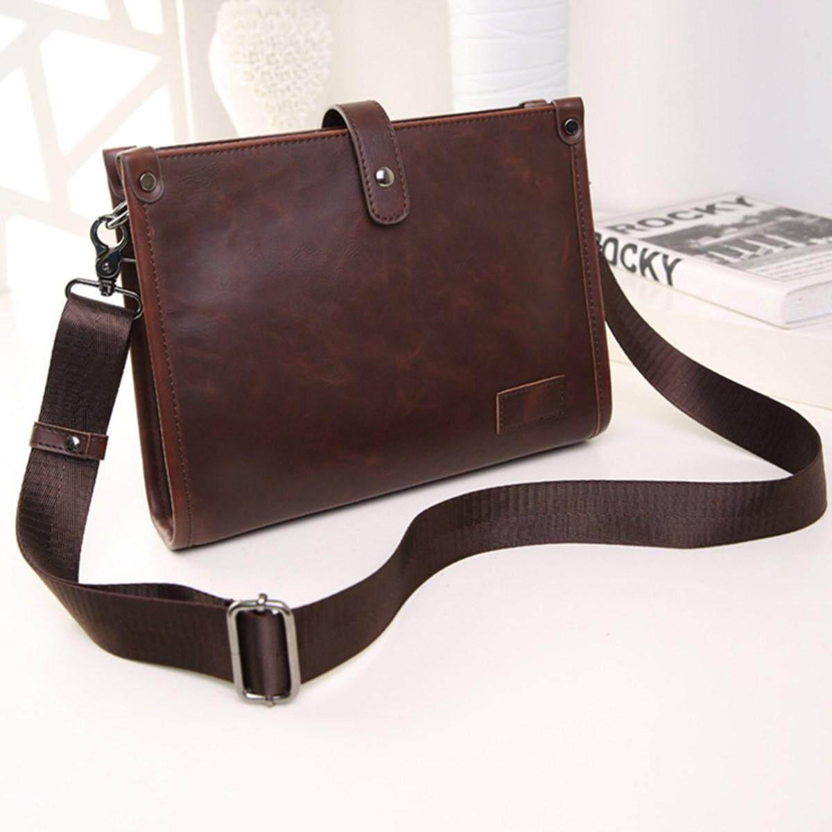 Fashion Men's Leather Business Briefcase Shoulder Bag Handbag Business Messenger Brown
