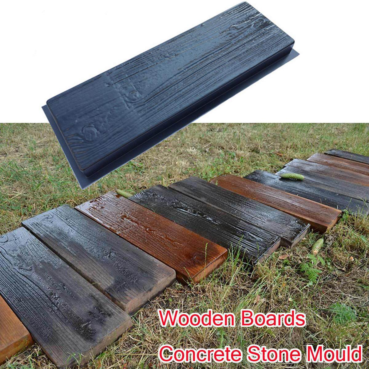 Old Wooden Boards Concrete Stone Mould Garden Stepping Stone Path Patio