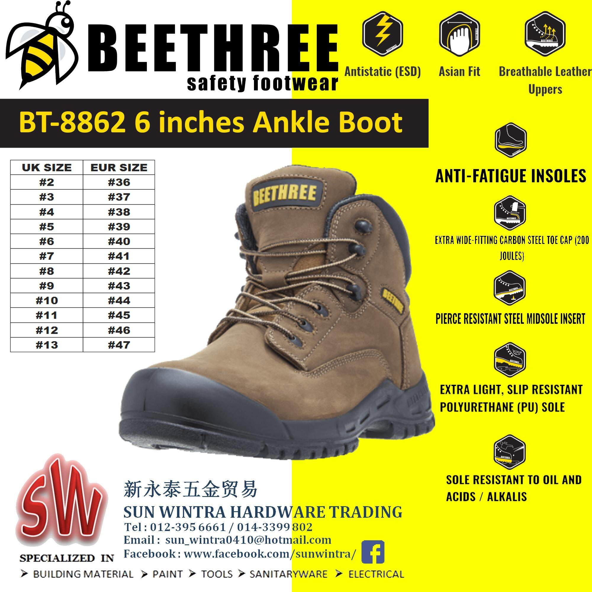 BEETHREE BT8862 6INCHES ANKLE BOOT SAFETY SHOES