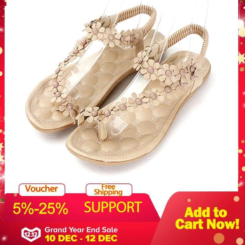 78da08da1 Fashion Summer Womens Bohemia Floral Sandals Flat Shoes Strappy Beach Flip  Flops