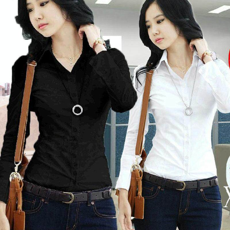 New Style Business Uniforms White Shirts Womens Long Sleeves Bottomless Shirts By The First Store.
