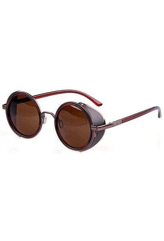 578fe7a57117 80 s Vintage Style Classic Round Steampunk Sunglasses-Bronzed + Dark Brown