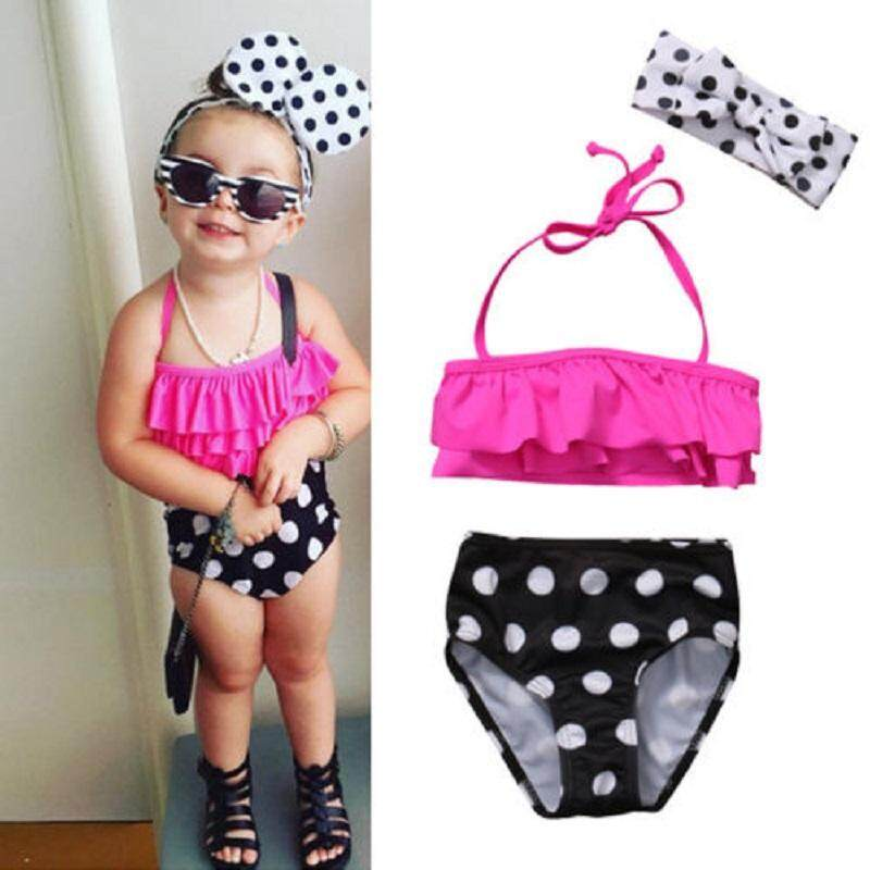 Kids Baby Girls Bikini Suit Swimsuit Swimwear Bathing Swimming Clothes (present Headband) By Gl1297 Store.
