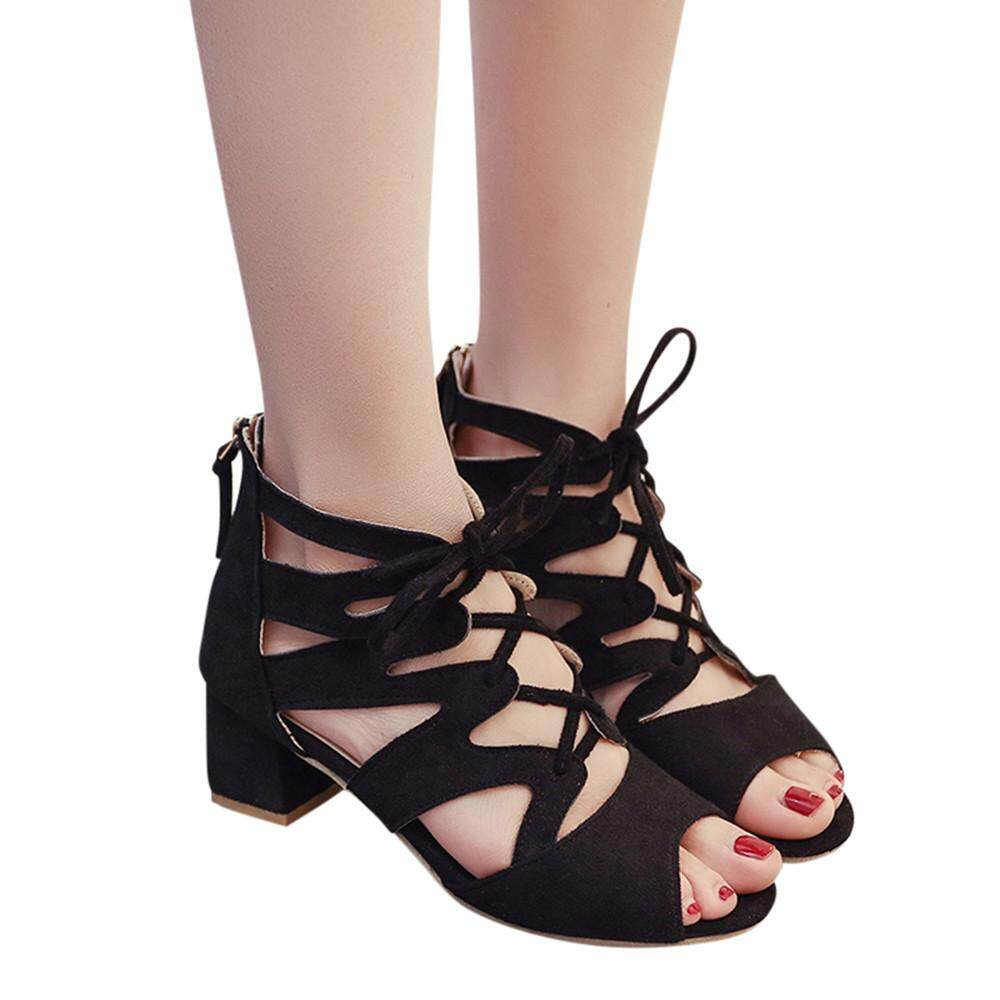 Ladies Shoes For The Best Price In Malaysia Baby Heels Sepatu Anak Red Rose Plain Moniment Fashion Women Sandals Ankle Square Block Party Open Toe