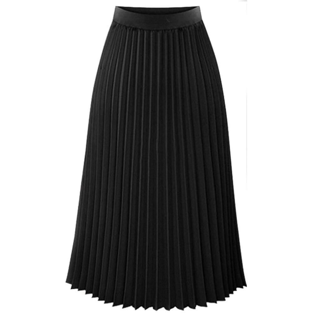 42d02e4da66f MML Womens Solid Pleated Elegant Midi Elastic Waist Maxi Skirt