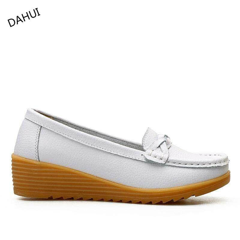 Women Leather Wedge Heel Slip-On Shoes Non-Slip Solid Color Mother Loafers High Quality Round Toe Flexible Flats Driving Jell Shoes (white) By Taishandahui.