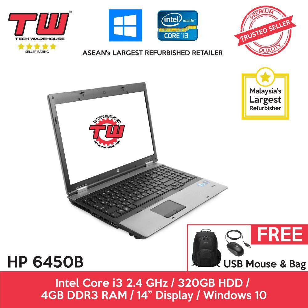HP 6450B Core i3 2.4GHz / 4GB RAM / 320GB HDD / Windows 10 Home Laptop / 3 Months Warranty (Factory Refurbished) Malaysia