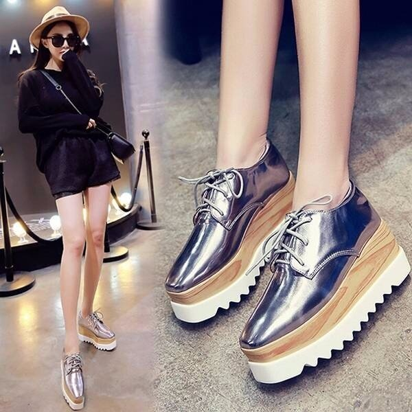 645eef0293e6 Product details of Women s Shiny Lace Up Flats Double Platform Creepers  Shoes Oxfords 2017 Fashion BLACK