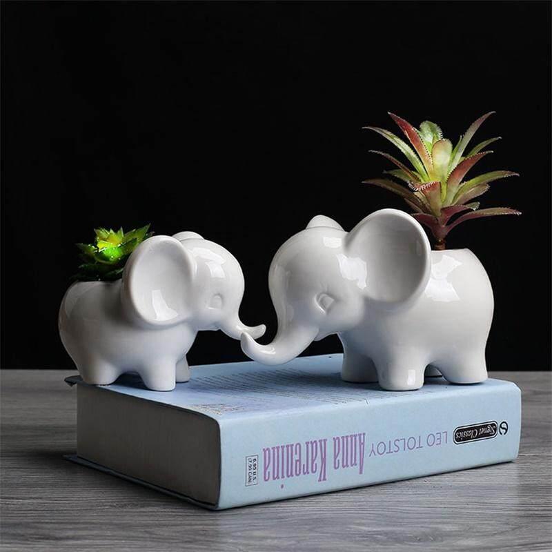 Lazada.com & yunmiao Animals Shape Ceramic Flower Pot Elephant Succulent Planter Cactus Succulent Plants Flower Cute White Pot Flowerpot