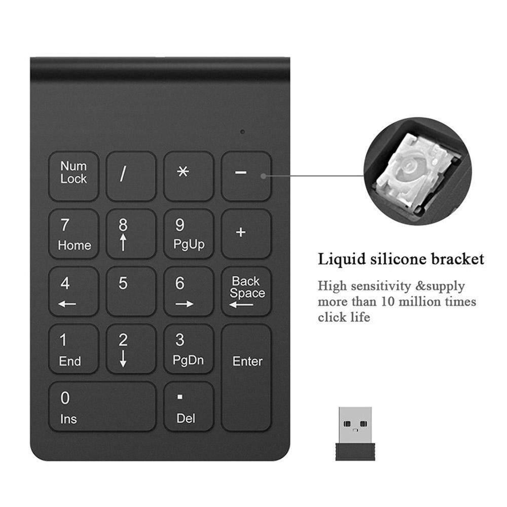 Wireless Mini USB Number Pad Full-Size 18 Keys Keyboard with 2.4G Numeric USB Receiver