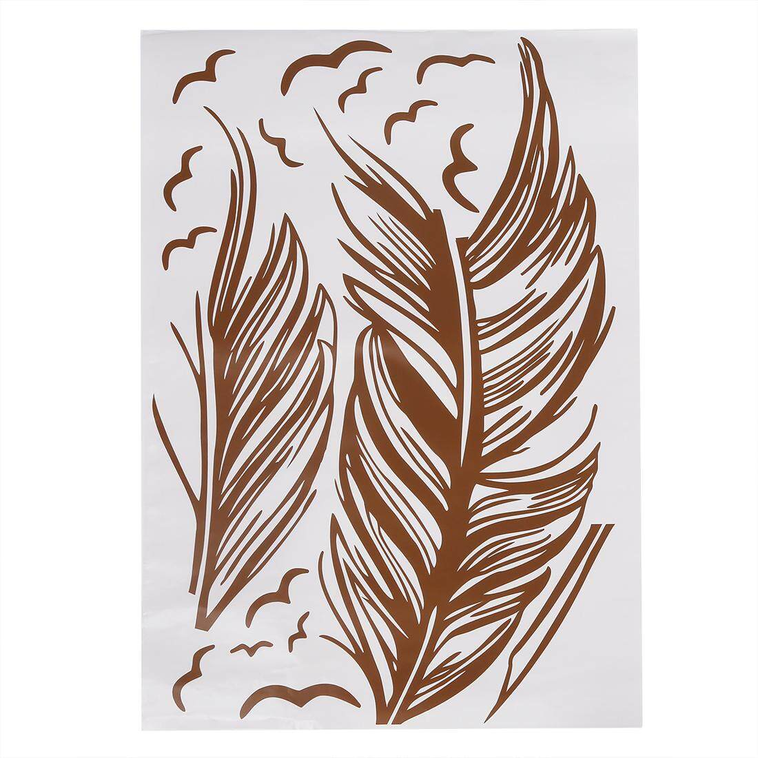 Left flying feather wall stickers home decor home decoration wallpaper wall sticker Brown