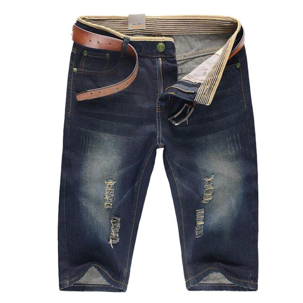 Summer New Hole Jeans Mens Five Casual Shorts Without Belt By Miss Lan.