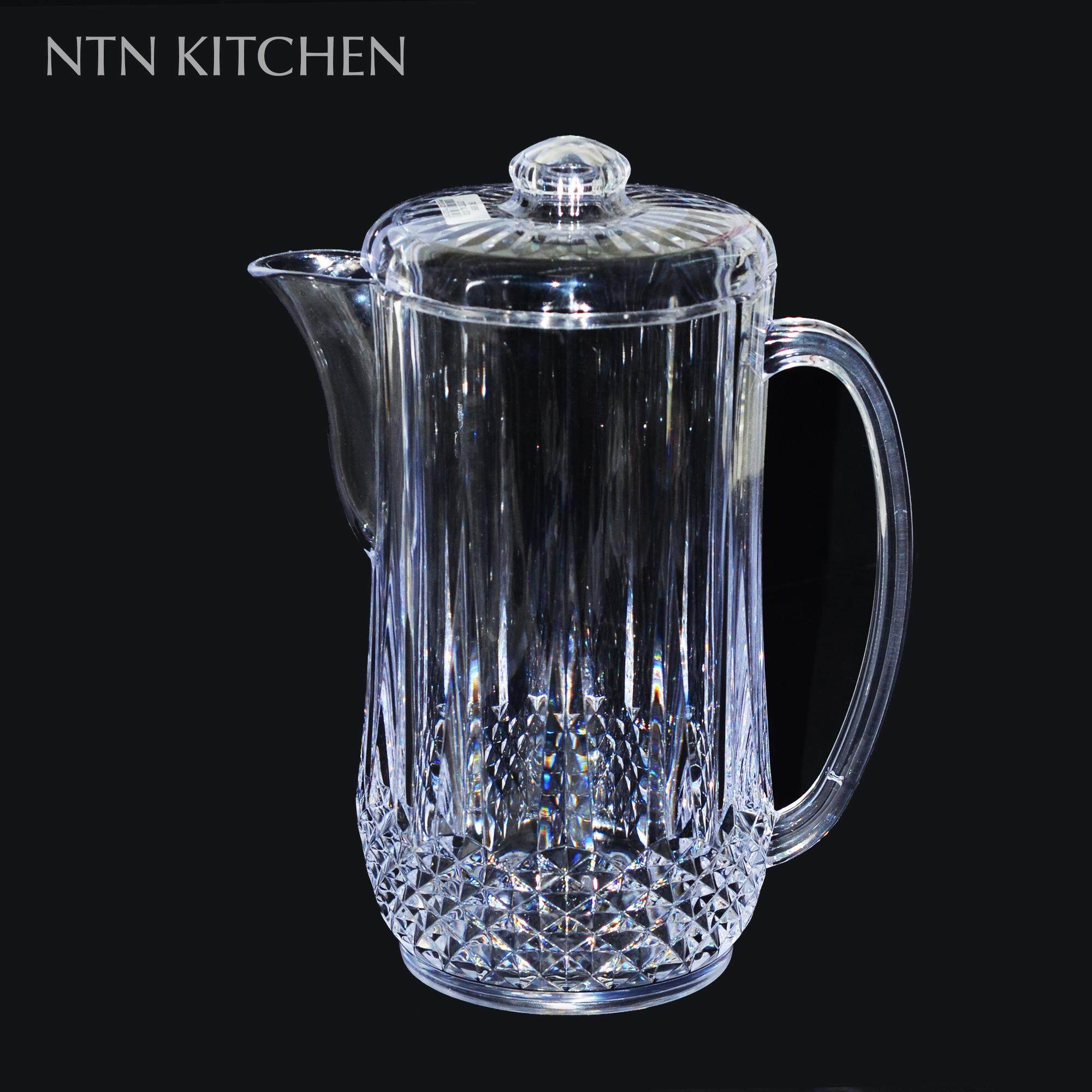 (1 Liter) Plastic Crystal Juice / Water Jug With Cover By Ntn Kitchen Store.