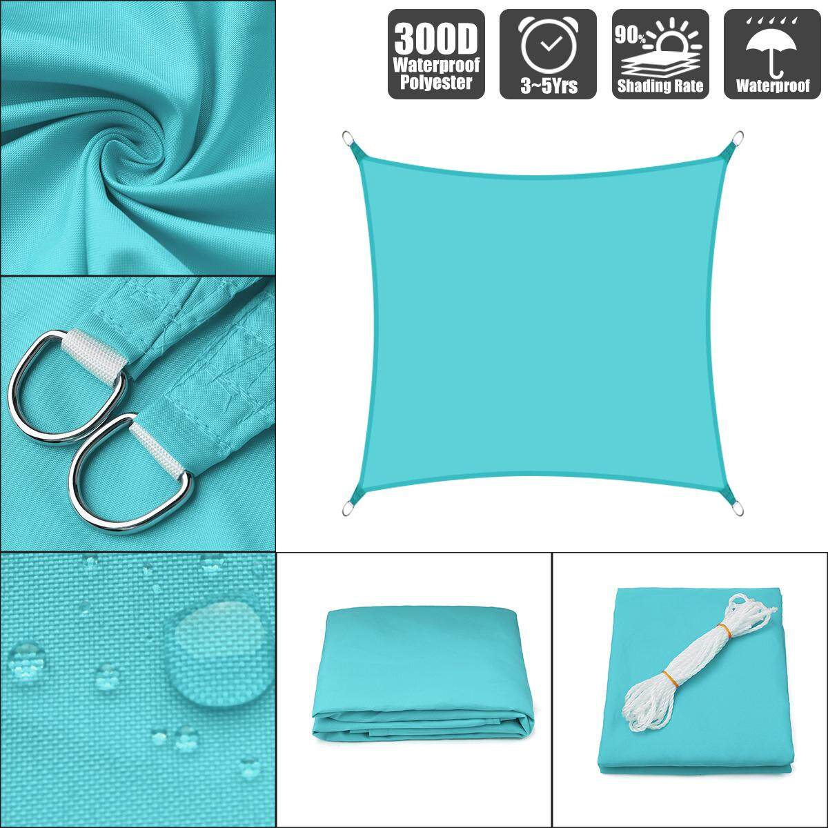 Sky Blue 300d 160gsm Polyester Oxford Fabric Shade Sail Sun Outdoor Square By Laker.