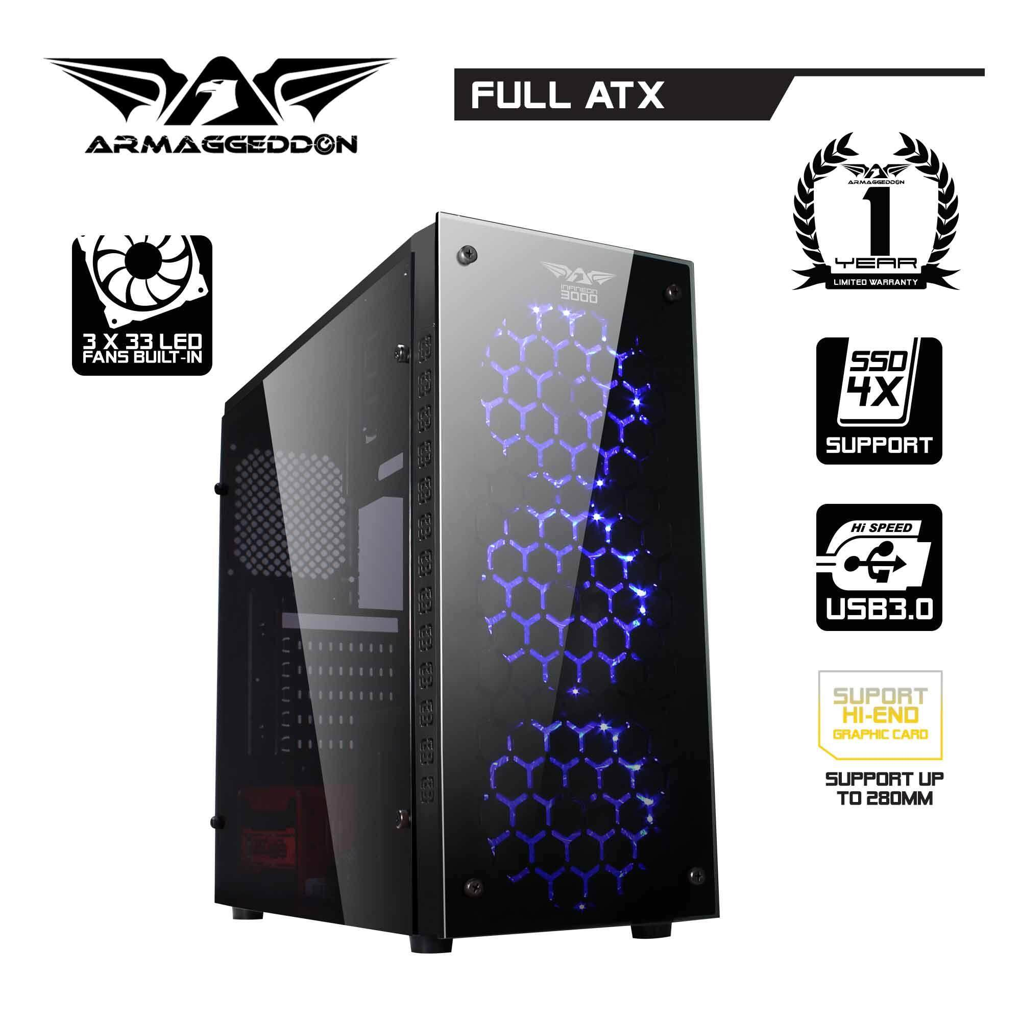 (12.12) Armaggeddon Infineon 3000 ATX Gaming Tower (Full View Transparent Side Panel Design) Malaysia