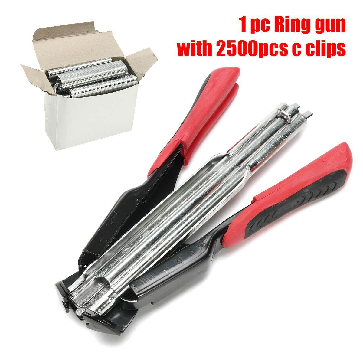Hog Ring Pliers With 2500 C Clips Spring Loaded Fastening Cage Clamp Fences