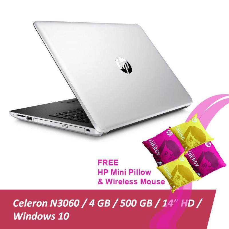 HP 14-bs538TU Laptop (Celeron N3060, 4GBD3, 500GB, 14.0, Win10) - Natural Silver + Free 1 X  HP Mini Pillow & HP X3000 Wireless Mouse Malaysia