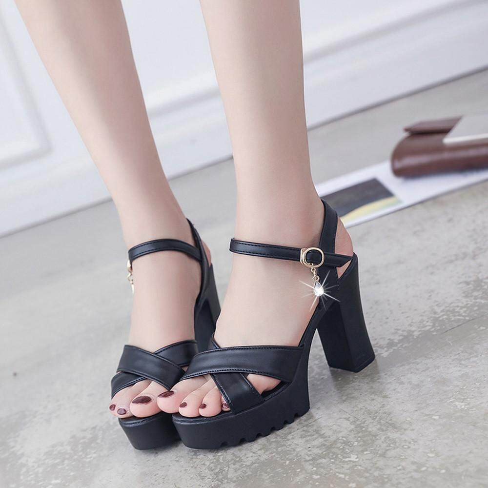 cf6efff014a Women Fish Mouth Platform High Heels Wedges Sandals Buckle Slope Sandals