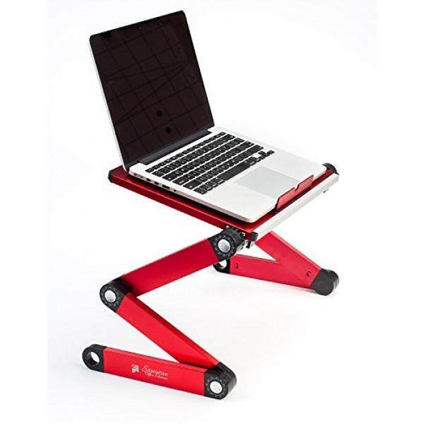 Portable Adjustable Aluminum Laptop Desk/Stand/Table Vented Notebook-Macbook-Ultra Light Weight Ergonomic TV Bed Large Lap Tray Stand Up/Sitting-Red Malaysia
