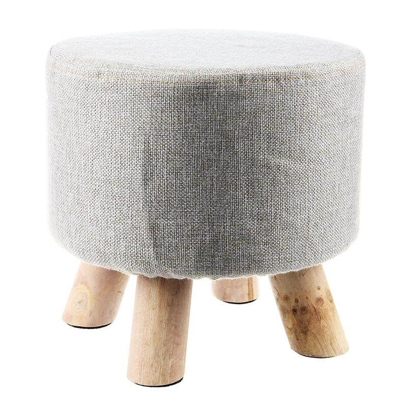 Modern Luxury Upholstered Footstool Round Pouffe Stool + Wooden Leg Pattern:round Fabric:grey(4 Legs) By Greatbuy666.