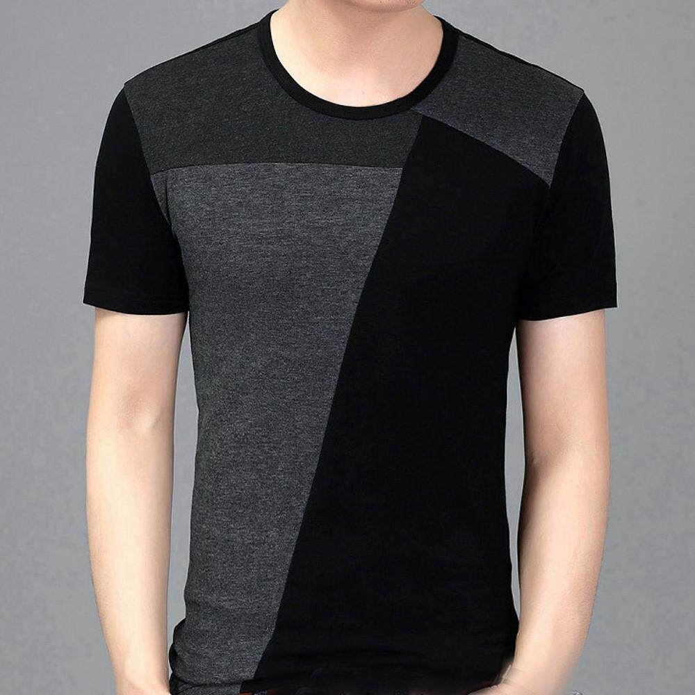 326007422 Quinnshop Personality Splicing Mens Tops Leisure Self Cultivation Short Sleeves  T Shirts
