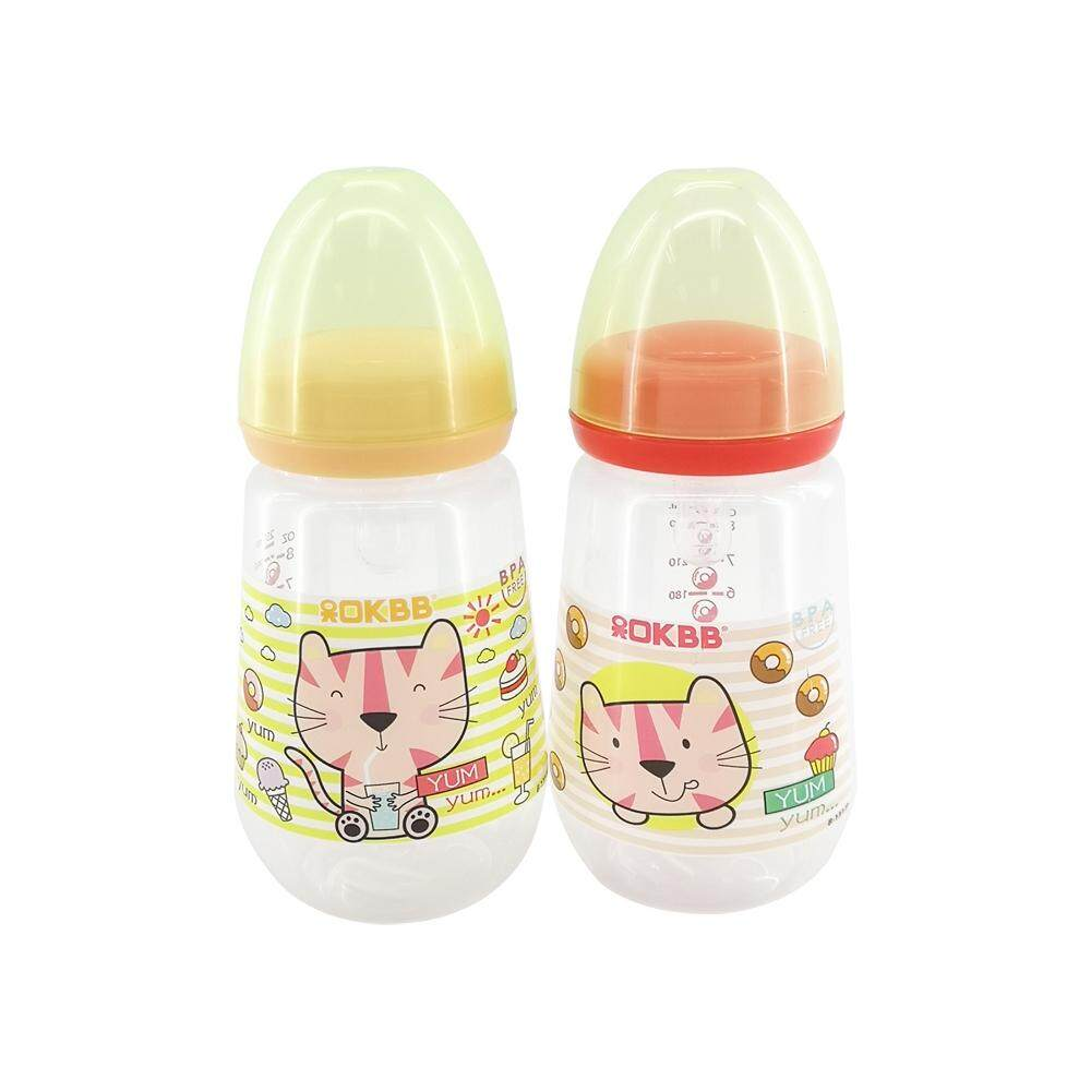 OKBB Twin Pack Feeding Bottle 9OZ x 2 Wide Neck Teats B131P_YL