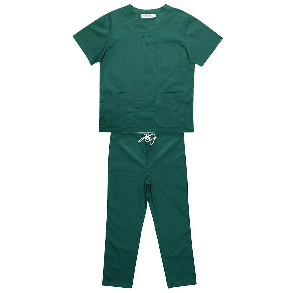 MagiDeal Men Women Medical Spa Nursing Clinic Scrub Sets Hospital Uniform XXXL Green