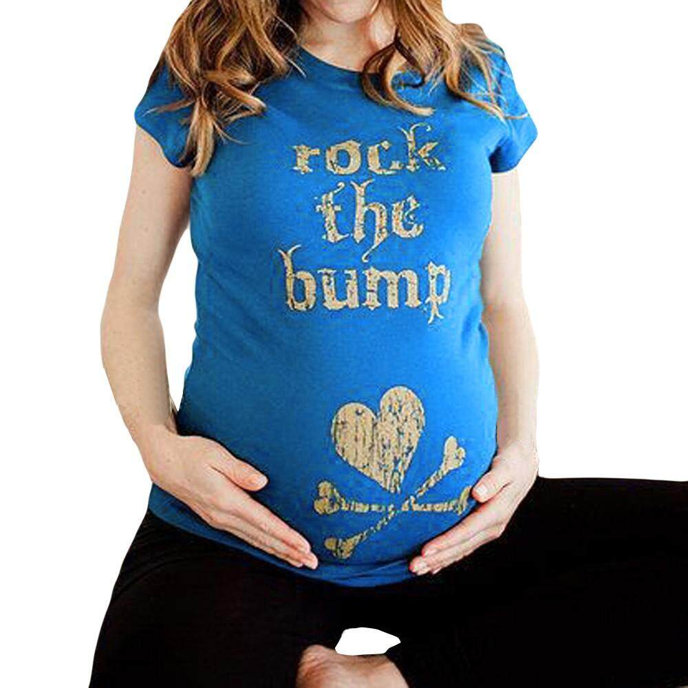 Foctroes Maternity Sports Baby Is Coming Pregnants Letter Print Blouse Short Sleeve Top By Foctroes.