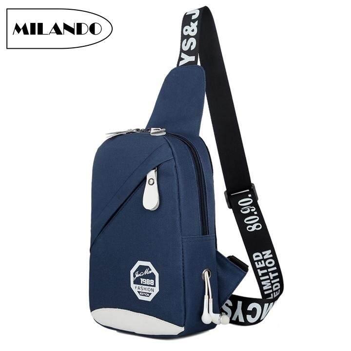 6dca93ac5f MILANDO Man Men Nylon Crossbody Bag Chest Shoulder Sling Pouch with  Earphone Hole Beg Lelaki (