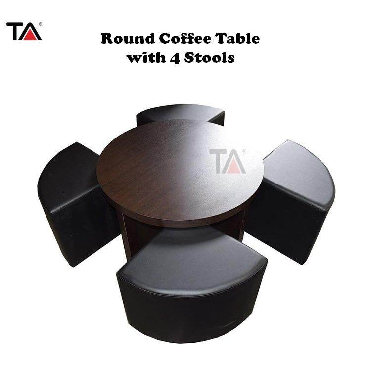 (2018 New Launch) : T.a. Lzd (rnd) Round Coffee Table With 4 Stools By T.a. Furniture.