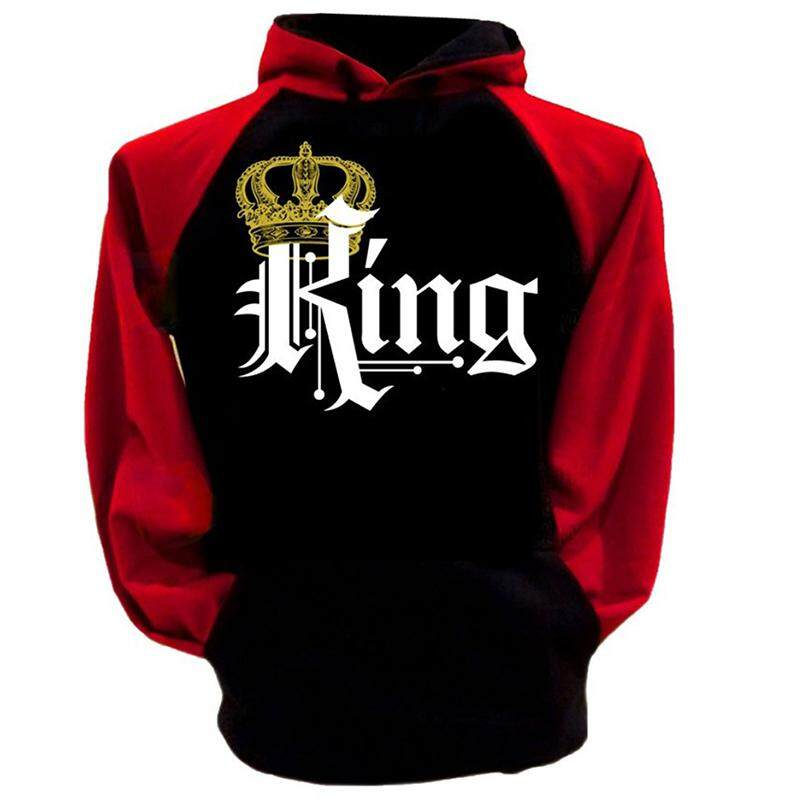 Men King Hoodies Pullovers Valentine New Multi Colors Matching Cute Love Couples Crown Print