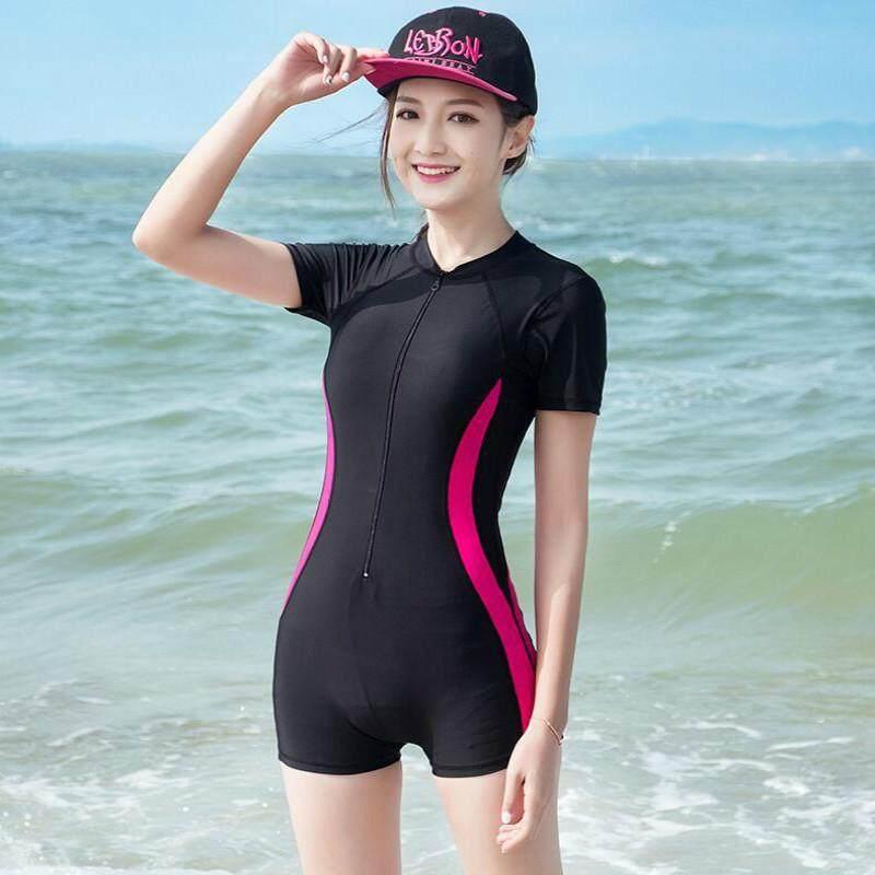 71f368b96af New Women Swimwear One Piece Suits Beachwear Push Up Swimsuit Zipper New Short  Sleeve Swimming Suit