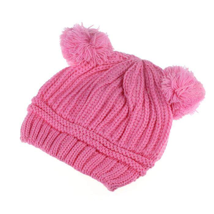 196fe36cf50 RADOCIE Cute Baby Kids Girl Boy Dual Balls Warm Winter Knitted Cap Hat  Beanie PK