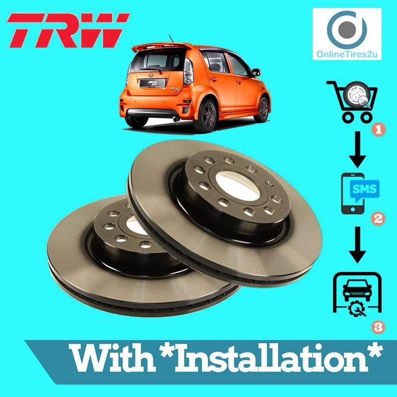Brake Disc Rotor Front (1 Pair) - Perodua Myvi 2005-2011 (with Installation) By Onlinetires2u.