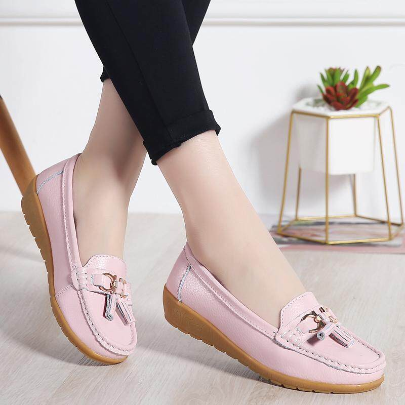 f6631b3b91a Women Leather Flats Lazy Soft Shoes Sneakers Ballet Loafer Shoes Pink