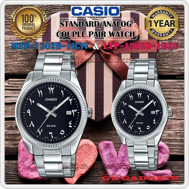 CASIO MTP-1302D-1B3V + LTP-1302D-1B3V STANDARD Analog Couple Pair Watch Date Stainless Steel Band WR50m MTP-1302 LTP-1302 1302 Series Malaysia