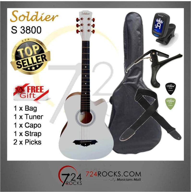 Soldier S3800 Up-grade Version 38 Inch Folk Cut-Away Acoustic Guitar With FREE Gifts Malaysia