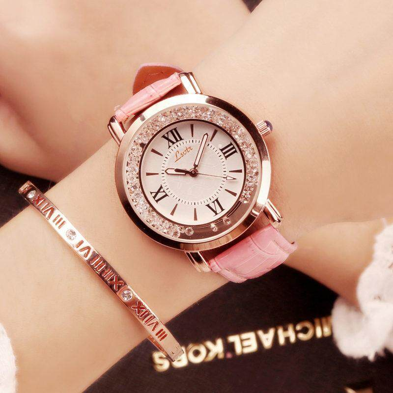 2018 New womens Watch flow drill quartz watch Korean fashion Ladies PU leather strap watch Malaysia