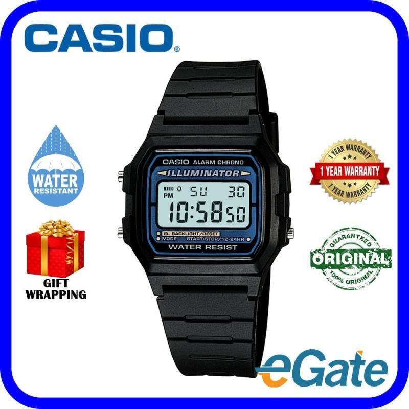 Casio F-105W-1A Digital Unisex Watch Black Blue Casual Original Malaysia