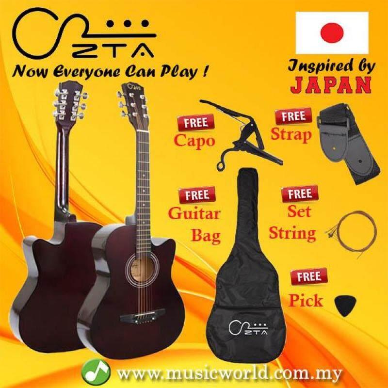 ZTA 38 Inch Acoustic Guitar Dark Brown Cutaway Starter Pack Folk Guitar Bundle Malaysia