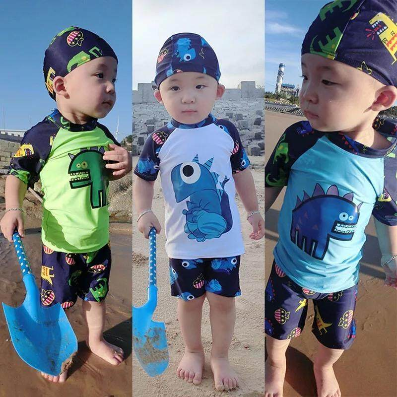 c0f7c0c47d93 Kids Boy Swimming Suits 3pcs set with cap Cute Dinosaur Design swimming suit