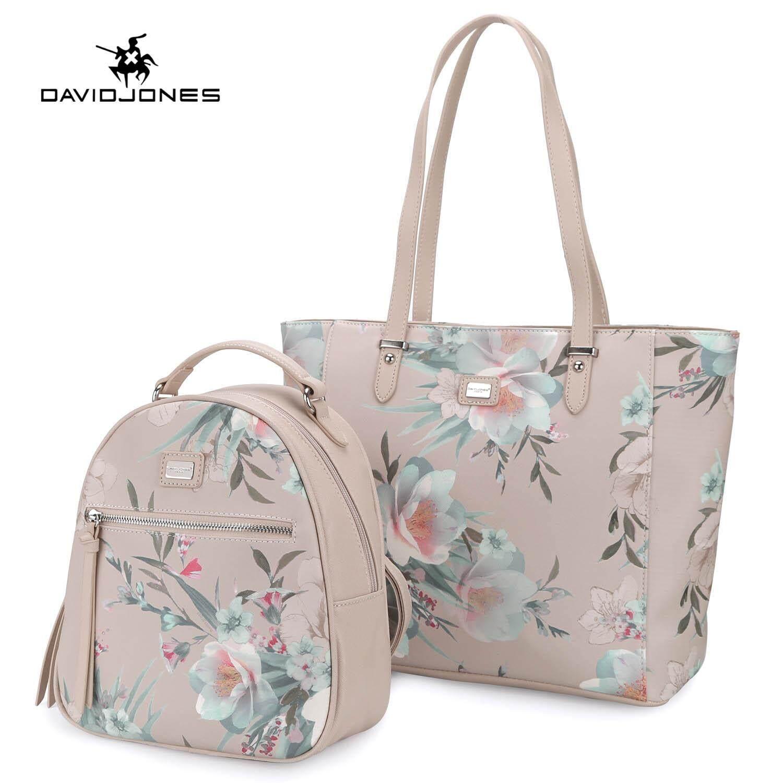 97cb0a73df DAVIDJONES women 2 pcs composite bag pu leather female shoulder bag small  spring Floral lady crossbody