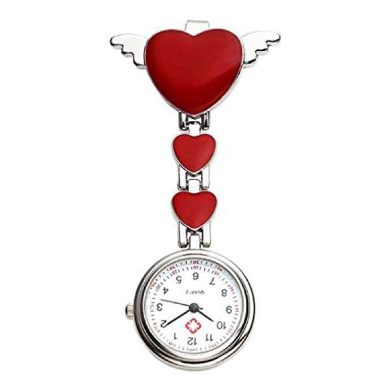 Womens Girls Heart Angle Wing Nurse Fob Clip On Brooch Hanging Pocket Watch Red Malaysia