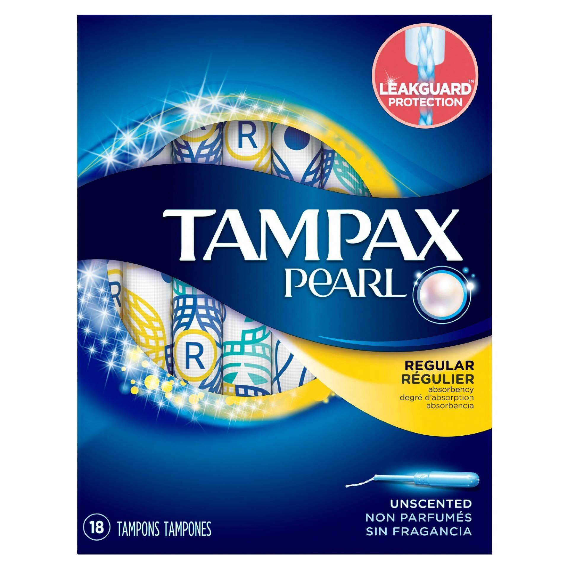 Tampax Pearl Plastic Regular Absorbency Unscented Tampons 18 Count By P&g Official Store.