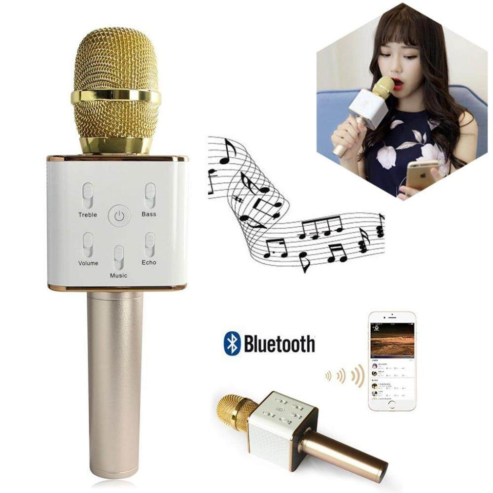 Q7 Wireless Bluetooth Ktv Microphone Mic Speaker With Casing - Q7 By White Shadow.