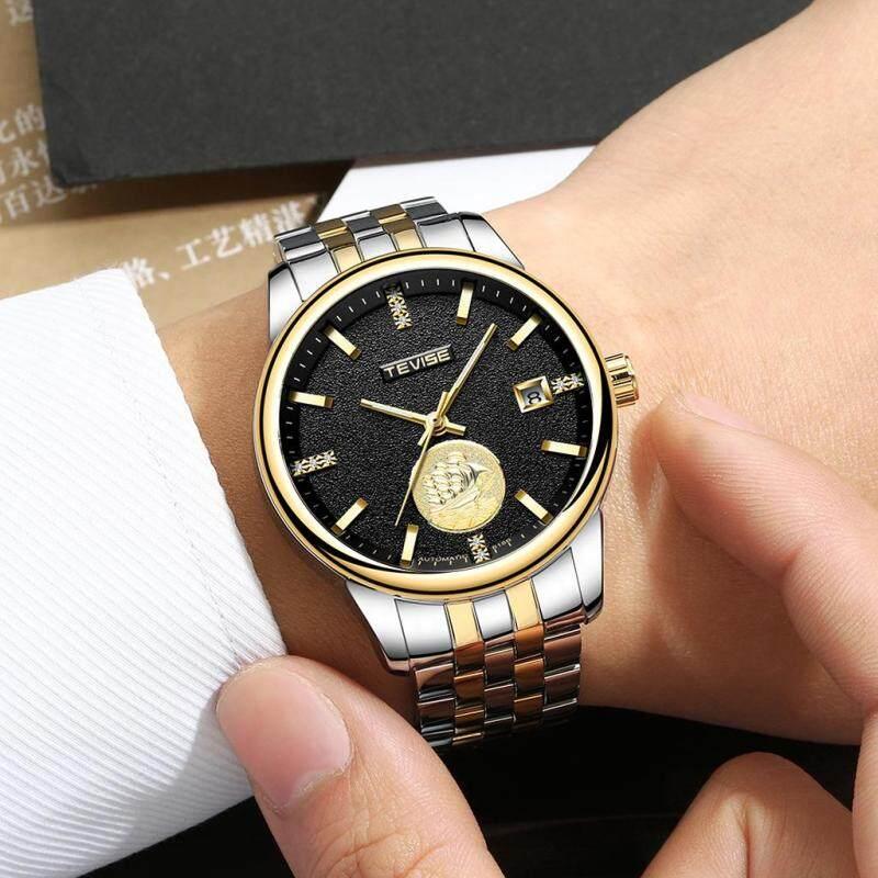 BolehDeals Tevise Mechanical Automatic Analog Date Sailing Crystal Watch Gold Black Malaysia