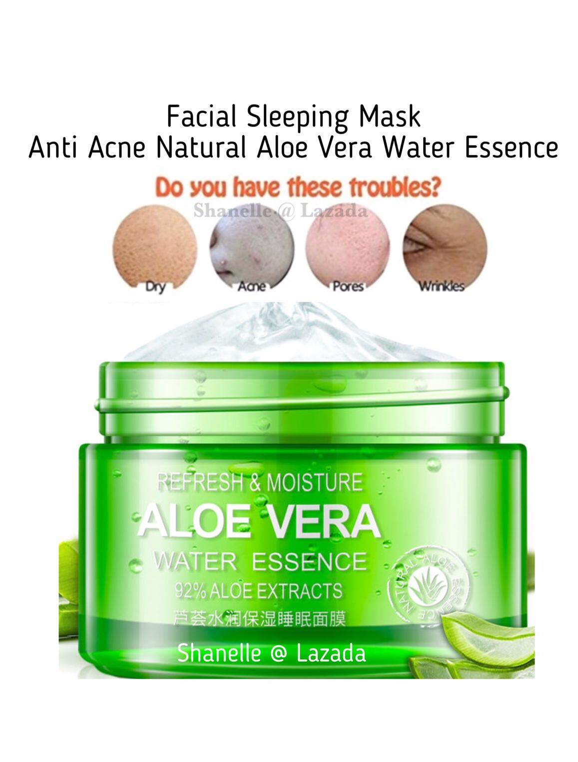 Anti Acne Mask Natural Aloe Vera Water Essence Sleeping Facial Mask Refresh Moisturizer Hydrating Whitening Deep Moisturizing Skin Acne Pimples Scars Sun Burn Men Women Face Care 100g By Shanelle.
