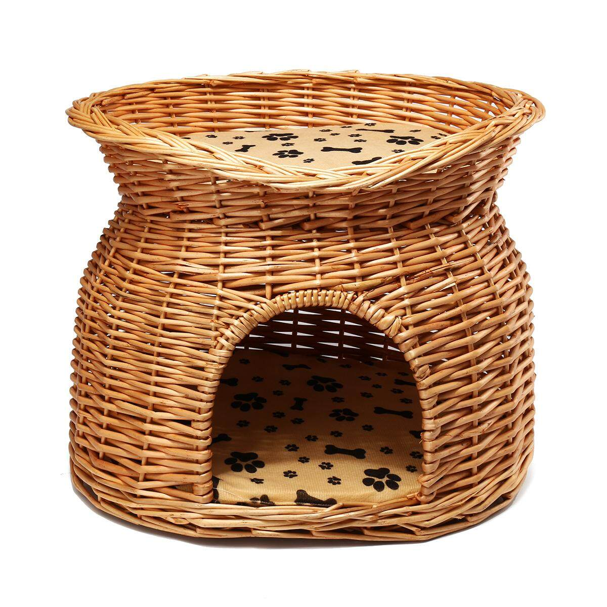 2 Tier Wicker Cat Bed Basket Pet Pod House Sleeping Cushions Puppy Small Dog Bed By Freebang.