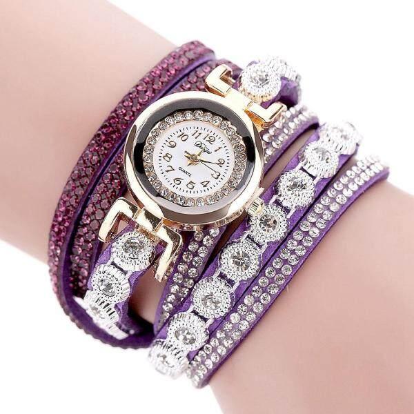 Duoya Brand Women Bracelet Luxury Wrist Watch For Women Watch Crystal Round Dial Dress Gold Ladies Leather Clock Watch D095 White Malaysia