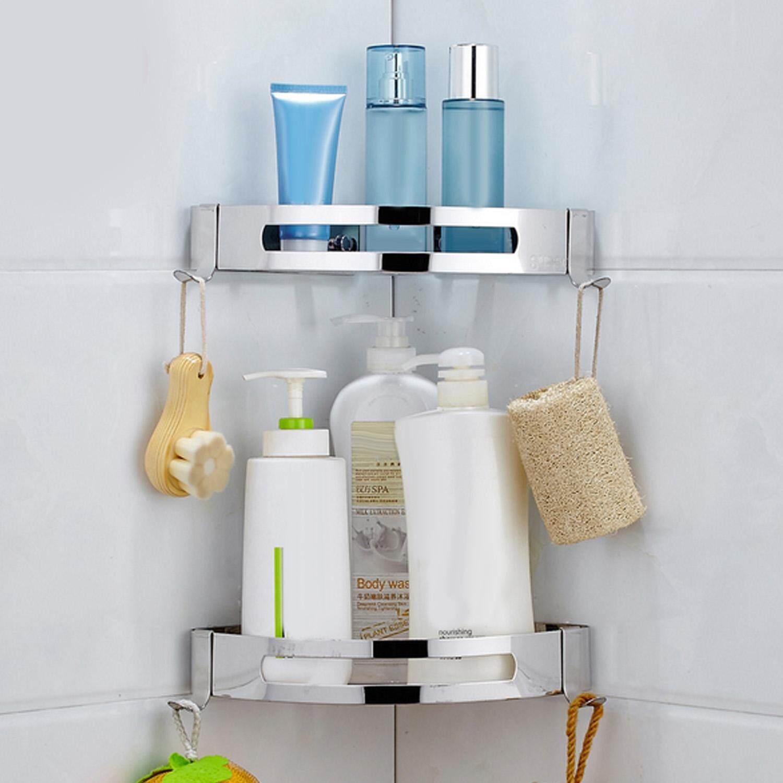 3m Adhesive No Drilling Triangle Baskets Stainless Steel Bathroom Corner Shower Caddy Shelf Storage Rack Shelves For Toiletries Shower Gel Shampoo